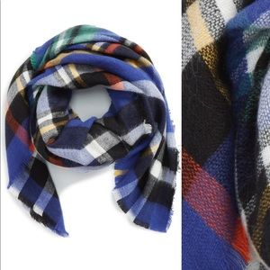 Shiraleah Langley plaid scarf in cobalt